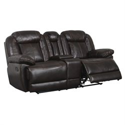 Global Furniture USA Faux Leather Reclining Loveseat in Brown
