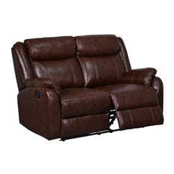 Global Furniture USA Leather Reclining Loveseat in Brown