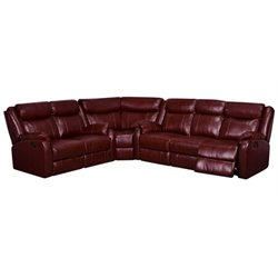 Global Furniture USA Faux Leather Reclining Sectional in Burgundy