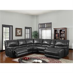 Global Furniture USA Leather Reclining Sectional in Black