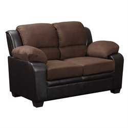 Global Furniture USA Fabric and Faux Leather Loveseat in Brown