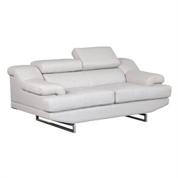 Global Furniture USA Natalie Leather Loveseat in Gray