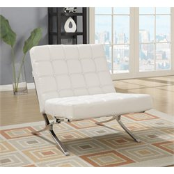 Global Furniture Natalie Leather Accent Chair in White
