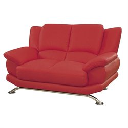 Global Furniture Leather Loveseat with Chrome Legs in Red