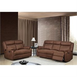 Global Furniture USA 2 Piece Microfiber Sofa Set in Chocolate