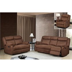 Global Furniture USA 3 Piece Microfiber Sofa Set in Chocolate