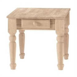 Traditional Unfinished End Table with Drawer