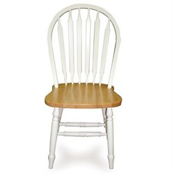 Windsor Dining Chair in White and Natural Finish