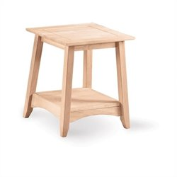 Whitewood Bomby Tall Unfinished End Table