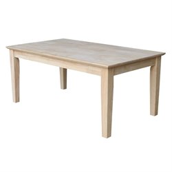 Whitewood Tall Shaker Unfinished Coffee Table in Natural
