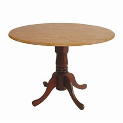 Round Dual Drop Leaf Dining Table in Cinnamon and Espresso