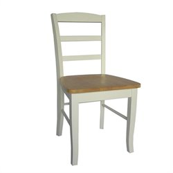 Ladderback Dining Chair in White and Natural Finish (Set of 2)