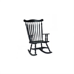 Solid Wood Rocking Chair in Antique Black