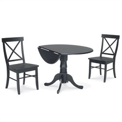 3 Piece Dining Set with X-Back Chairs in Black