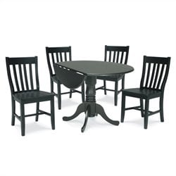 5 Piece Schoolhouse Dining Set in Black