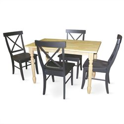 5 Piece Solid Wood Dining Set in Natural/Black