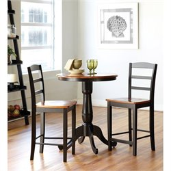 3 Piece Bistro Set in Black and Soft Cherry