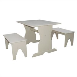 Table with 2 Benches in Linen White