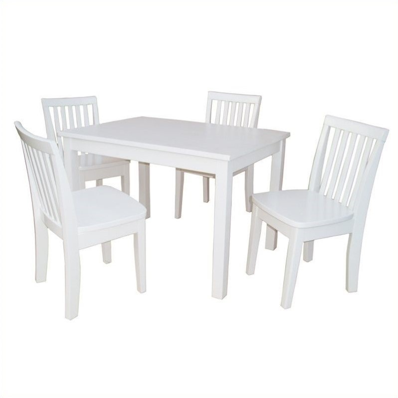 5 Piece Mission Table Set in Linen White