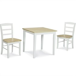 3 Piece Square Dining Set in White and Natural