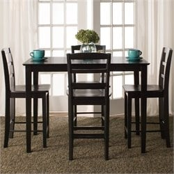 5 Piece Gathering Height Dining Set in Black