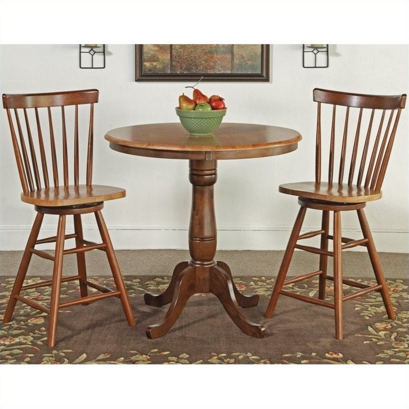 3 Piece Round Dining Set in Cinnamon/Espresso