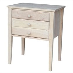 Unfinished 3-Drawer Accent Table