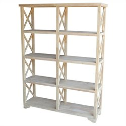 Unfinished 4-Tier 'X' Sided Double Shelf Unit