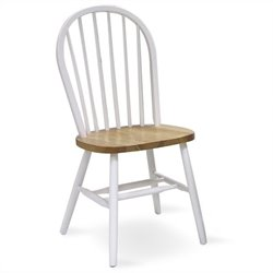 International Concepts Spindleback Windsor   Dining Chair in Natural and White Finish