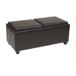 Faux Leather Tray Top Ottoman in Espresso
