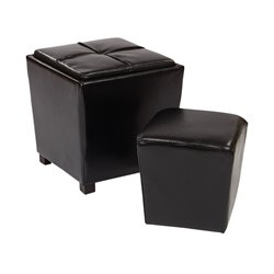 2 Piece Bonded Leather Ottoman Set in Black