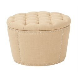 Upholstered Nesting Ottoman in Milford Maize