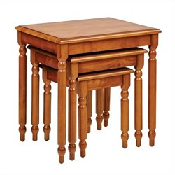 Office Star Knob Hill 3-Piece Nesting Table Set in Antique Cherry