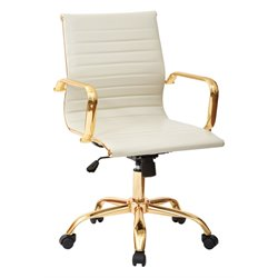 Faux Leather Mid Back Arm Chair in Cream