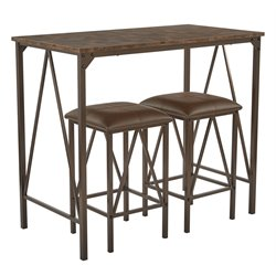 Catalina 3 Piece Bistro Set in Brown Powder