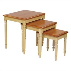 Office Star Country Cottage 3 Piece Nesting Tables in Antique Yellow
