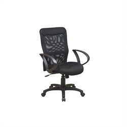 Screen Back Office Chair with Mesh Seat and Loop Arms in Black