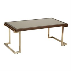 Office Star OSP Designs Coffee Table in Bronze Glass and Champagne