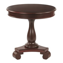 Office Star Inspired by Bassett Round Pedestal Table in Vintage Wine