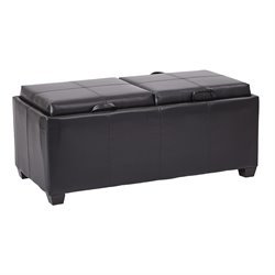 Office Star Inspired by Bassett Storage Bench Ottoman in Black