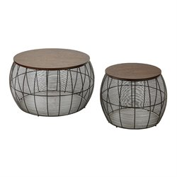 Office Star OSP Designs 2 Piece Round Nesting Table Set in Espresso