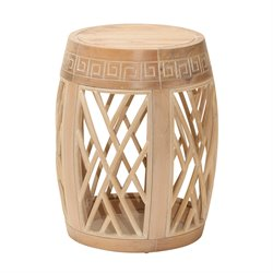Office Star OSP Designs Wood Drum Accent Table in Antique Beige