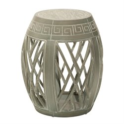 Office Star OSP Designs Wood Drum Accent Table in Antique Green