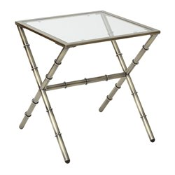 Office Star OSP Designs Accent Table in Antique Brass