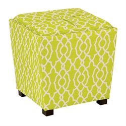 Office Star OSP Designs Tray Top Ottoman in Abby Geo Lime Fabric