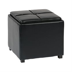Office Star OSP Designs Tray Top Ottoman in Black
