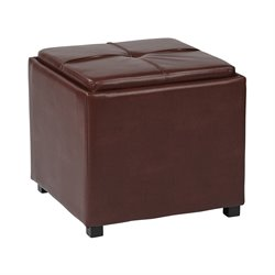 Office Star OSP Designs Tray Top Ottoman in Red