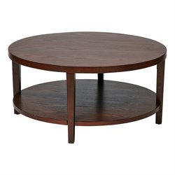 Office Star Work Smart and Ave Six Round Coffee Table in Cherry Veneer