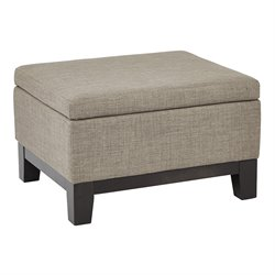 Office Star Ave Six Tray Top Storage Ottoman in Milford Dolphin