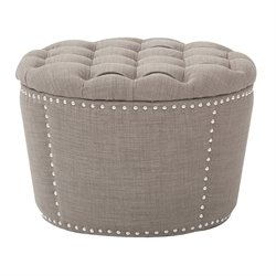 Office Star OSP Tufted Storage Ottoman in Milford Dolphin